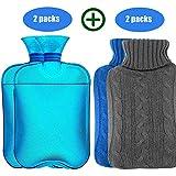 HyAiderTech Bouillotte 2 Pack, Bouteille d'eau Chaude encaoutchouc Classique Transparente avec Housse tricotée 2 L, Aide à...