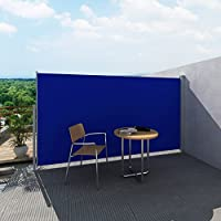 Anself - Toldo Lateral para Patio Terraza Jardín Balcón,Soporte De Acero (180x0-300cm,Azul)