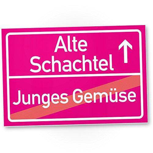 DankeDir! Alte Schachtel (Junges Gemüse) Kunststoff Schild rosa - Geschenk runder Geburtstag Geschenkidee Geburtstagsgeschenk Sie Geburtstagsdeko Partydeko Party Zubehör Geburtstagskarte