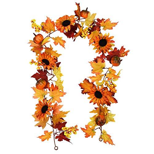 Guirnalda de flores brillantes de 1,8 m de hojas de arce artificiales, girasol, calabaza, para colgar en bodas, fiestas, chimeneas, puertas, telón de fondo de acción de gracias