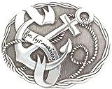 Brazil Lederwaren Gürtelschnalle Anker 4,0 cm | Buckle Wechselschließe Gürtelschließe 40mm Massiv | Wechselgürtel bis 4cm | Silber