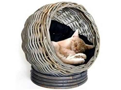 Klocke Haustierbedarf Rundes Katzenbett aus Rattan mit Kissen - Höhe 45cm / Durchmesser 45cm - Hochwertige Verarbeitung