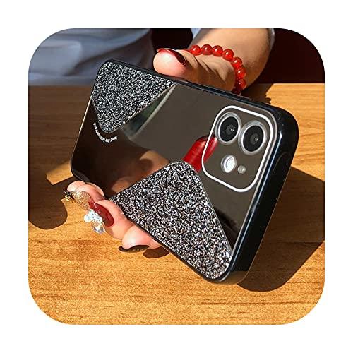 Bling Glitter Maquillaje espejo teléfono caso para iPhone 12 11 Pro MAX Mini X XS XR 8 7 Plus SE 2 2020 lujo silicona a prueba de golpes cubierta negro - para iPhone XR