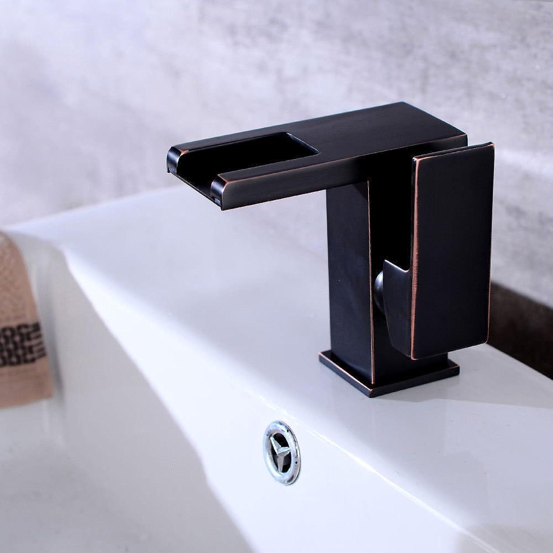 AQMMi Wasserhahn Waschtisch Waschbecken Armatur Schwarz Antik Wasserfall Led Thermoschalter Badarmatur Waschbeckenarmatur Waschbecken