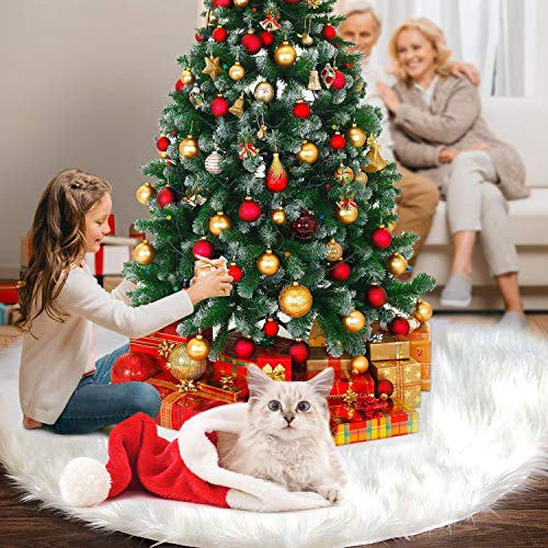 FISHOAKY Gonna Albero di Natale, 48 inch 122CM Bianco Tappeto Albero di Natale Gonna Base Tappetino Copertura per Albero di Natale Decorazione Capodanno casa Festa Forniture