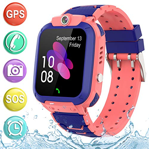 """Kids Smartwatch GPS Tracker Phone - 2019 New Waterproof Children Smart Watches with 1.4"""" Touch Screen SOS Phone Call Talkie Walkie Pedometer Fitness Sports Band for Boys Girls Age 4-12 (Pink)"""