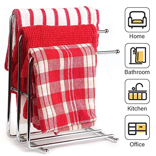 M-TOP Geschirrtuchhalter für Küchenspüle, freistehender Handtuchhalter aus gebürstetem Nickel, Edelstahl mit 3 Etagen, Handtuchhalter für Badezimmer, Waschtische, Arbeitsplatten, 2er-Pack