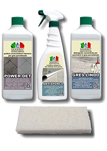 Marbec - Promo Sconto 10% | Kit Completo di Prodotti SPECIFICI per LA Pulizia STRAORDINARIA E ORDINARIA dei Pavimenti in GRES PORCELLANATO