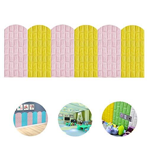 Liangjun Rugleuning bed kussen 3D Wandpanelen Soft Case Antikolision PE-schuim kinderdagverblijf kinderkamer zelfklevend kan op maat worden geknipt, 5 kleuren
