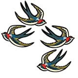 4 Pcs Flying Swallow Applique Embroidered Iron on Cute Bird Patches Badge for Clothes Bag DIY Craft Home Decoration Accessory