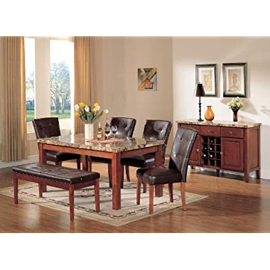 ACME Bologna Brown Marble Top Dining Table, Cherry Finish