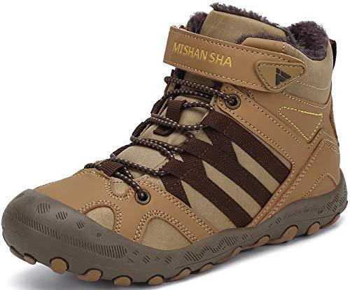 Mishansha Zapatos de Botas de Invierno para Unisex-Niños Botas de Senderismo Calentar Forro Botas de Montaña Deportiva Cómoda Marrón Gr.26