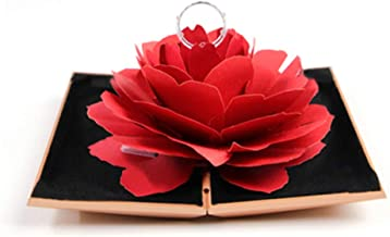 WINGOFFLY Ring Box Red Rose Wedding Ring Holder Blooming and Rotatable for Proposal Engagement Wedding Gift Supplies Ring Bearer Box(Gold)