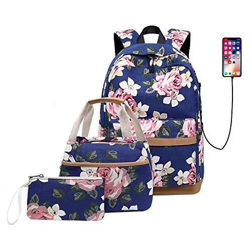 NALIDO Impresión de la Flor Lona niñas Mochila USB Establece Mujeres portátil Mochila con Almuerzo Caja de lápiz/del Monedero del Bolso de Mano,Azul