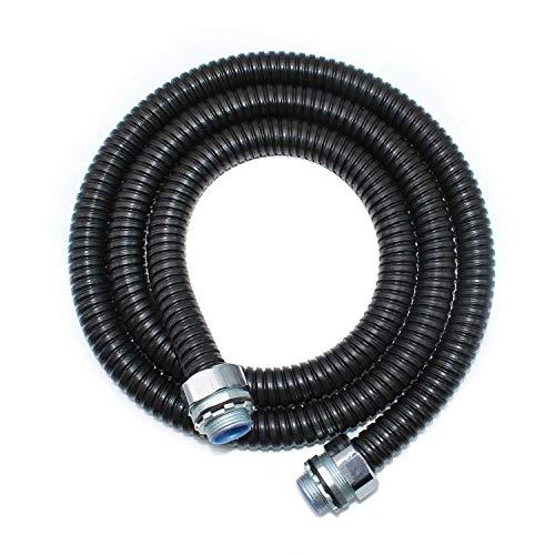 WJUAN 2 Metros Tubería Corrugada de Metal/Negro Conducto Flexible, Manguera de Metal de Acero Recubierto de PVC de Alta Calidad, con 2 Contratuercas, se Puede Utilizar para la Protección de Cables