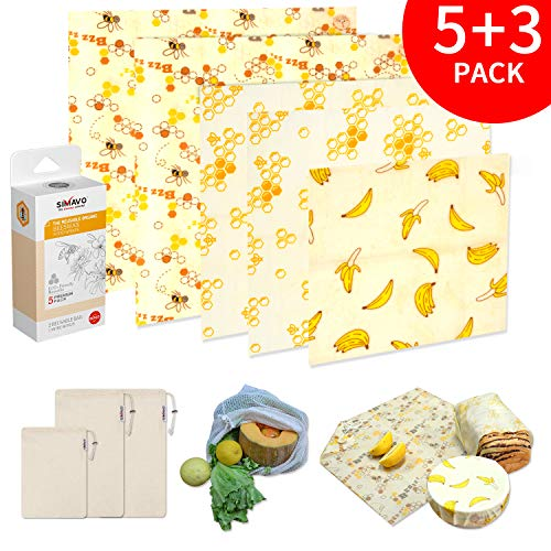 SIMAVO Reusable Beeswax Wrap Food Storage 5 pack + Large Reusable Produce Bag 3 pack | Eco-Friendly, Sustainable Sandwich Wrap Zero Waste | Food Cover, 100% Compostable | Large Wraps With Button&Tie