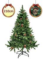 Altezza: 210 cm con 900 rami Foltissimo Albero di Natale artificiale di colore verde naturale con un elevato e consistente numero di rami orientabili e pigne Facile da montare composti da più parti centrali Apertura dei rami ad ombrello Dotato di bas...