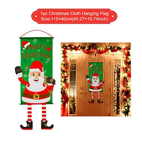 Kerstmis decoratie slinger hangende banner muur raamdecoratie deurplaat vintage schild kerstvlag kerstdecoratie 115 * 40 cm Santa.