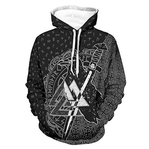 Sudadera con capucha para hombre, estilo nórdico, vikingo, transpirable, diseño nórdico, color negro, talla 3XL