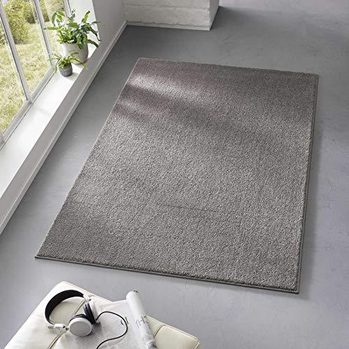 Taracarpet Teppich Kurzflor weicher Designer Uni Bodenbelag Madrid fürs Wohnzimmer, Kinderzimmer, Schlafzimmer und die Küche geeignet Anthrazit Dunkelgrau 200x280 cm