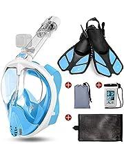 Odoland Kit Snorkell 5 en 1con Máscara de Snorkel Panorámica de 180 ° Antiniebla y Antifugas, Aletas, Bolsa de Malla, Estuche Impermeable, para Adultos y Jóvenes