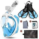 Odoland Snorkel Mask y Aletas Kit 5-en-1, Máscara de Buceo 180 °Cara Completa de Panorámico Visión Tecnología Antiempañante Anti-Fugas Camara Compatible, Azul Claro XL - (Mask L + Fins L)