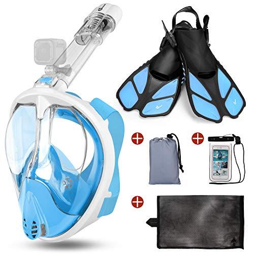Odoland Snorkel Mask y Aletas Kit 5-en-1, Máscara de Buceo 180 °Cara Completa de Panorámico Visión Tecnología Antiempañante Anti-Fugas Camara Compatible, Azul Claro M - (Mask S + Fins L)