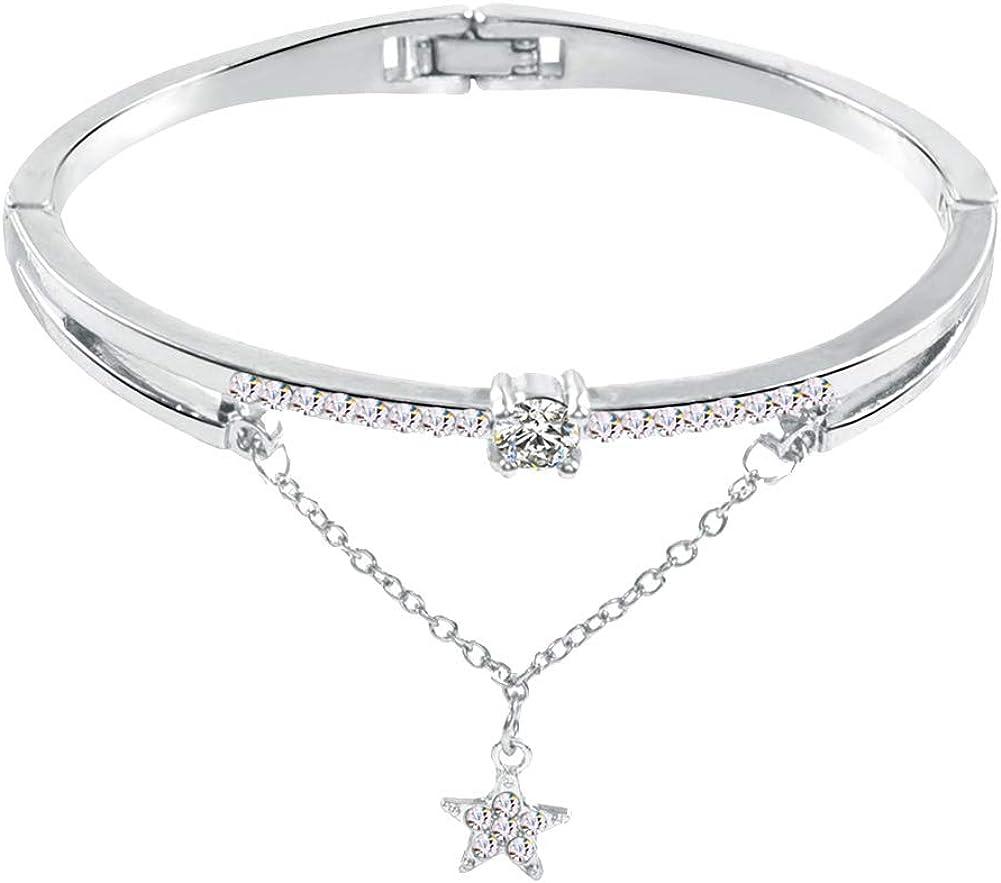 MileHouse Fashion Bangle Bracelet for Girls Women,Fashion Star Pendant Chain Shiny Rhinestone Inlaid Bracelet Jewelry - Golden