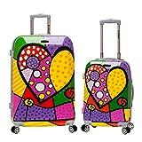 Rockland Departure Hardside Spinner Wheel Luggage Set, Heart, 2-Piece (20/28)