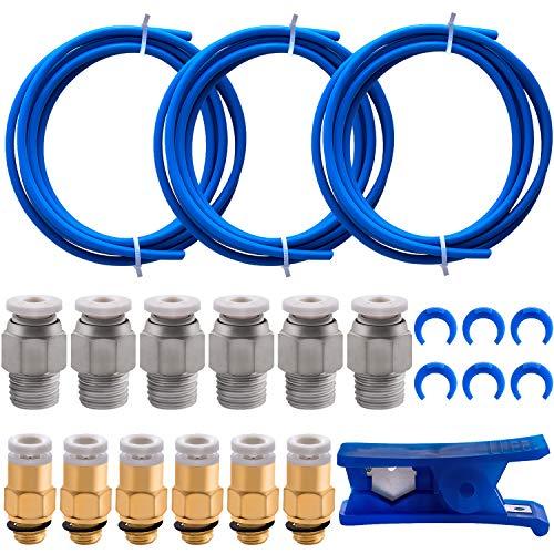 BQTQ 3 Pcs Teflon Tube PTFE Blue Tubing (1.5m) with Tube Cutter, 6 Pcs Blue Collet Clips, 6 Pcs PC4-M6 Fittings and 6 Pcs PC4-M10 Fittings Connector for 3D Printer 1.75mm Filament
