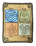 Avatar The Last Airbinder The Four Elements Printed Fleece Throw Blanket