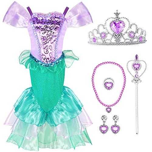 Tacobear Disfraz Sirena Niña Vestidos Sirena con Princesa Accesorios Corona Varita Mágica Disfraz Sirenita Cumpleaños Fiesta Carnaval Halloween Ariel Disfraces Cosplay (110, 4-5 Años)
