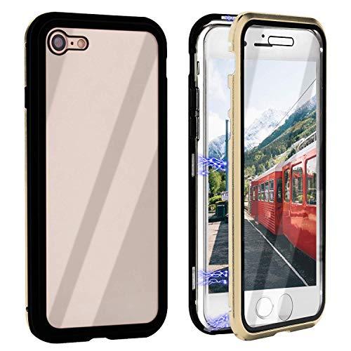 Funda Compatible para iPhone 6/iPhone 6S Adsorción Magnética 360 Grados Protección Carcasa Delantera y Trasera Colorear Vidrio Templado Metal Marco Delgada Bumper Cubierta Case (9)