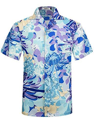 ELETOP Herren Hawaiihemd Kurzarm Funky Hemd Lässiges Blume Shorts Urlaub Beach Party Hemd Blau EHS024-XL