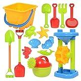 TeeFly Juego de Juguetes de Arena de Playa con moldes de Arena de Cubo de Rueda de Agua, regadera, Juguetes de plástico, Juguetes de Agua de Playa para niños y niñas
