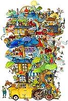 大人のジグソーパズル4000ピースのジグソーパズルファミリーゲームDIYゲームおもちゃ大人のギフト子供とティーンエイジャーのジグソーパズル(車の城)