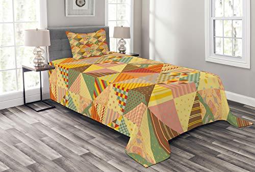ABAKUHAUS Patchwork Tagesdecke Set, Bunte Dreieck Patches, Set mit Kissenbezügen Sommerdecke, für Einselbetten 170 x 220 cm, Mehrfarbig