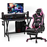 Tangkula Gaming Desk and Chair Set, E-Sport Gamer Desk & Racing Chair Set, w/Monitor Stand, Cup Holder, Earphone Hook, Seat Height Adjustment, Reclining Backrest, Ideal for Home and Office (Pink)