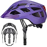 PHZ Adult Bike Helmet with Rechargeable Led Back Light/Detachable Visor Ideal for Road Ride Mountain Bike Bicycle for Men and Women (Purple, Medium)