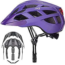 PHZ. Adult Bike Helmet CPSC Certified with Rechargeable USB Light, Bicycle Helmet for Men Women Road Cycling & Mountain Biking with Detachable Visor