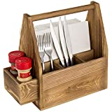 MyGift Rustic Burnt Brown Wood Dining Utensils and Napkin Holder Server Caddy with Side Slots for Spices, Salt & Pepper Shakers