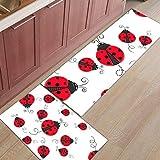 KUKUALE 2Pcs / Set Red Ladybug Accesorios de Cocina Tapete de Puerta Tapete Felpudos Alfombra de baño Alfombrilla de habitación Alfombras de Piso Alfombras para el hogar (40X120cm) + (40X60cm