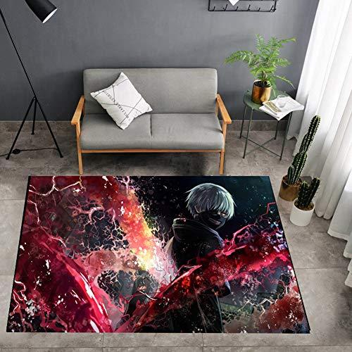 ZWPY Anime Tokyo Ghoul Carpet Non-Slip Area Rugs Bedroom Soft Carpets Living Room Rectangle Carpet Home Decor Carpet,80x120cm