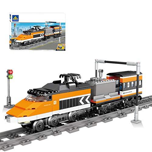 YOU339 Modelo de tren de ingeniería para niños, bloques de construcción con tren y motor, juguete para Lego