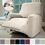Sofa Shield Original Fitted 1 Piece Recliner Protector, Seat Width up to 28 Inch, Stretch Furniture Slipcover, Fastener Straps, Spandex Reclining Chair Slip Cover Throw for Pets, Dogs, Recliner, Linen