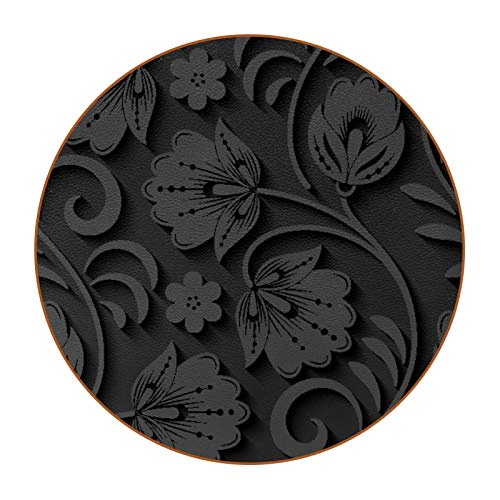 6pcs Drink Round Coasters Microfiber Leather Coasters Non-Slip & Scratch-Resistant Base Home Kitchen Office Bar Decorative Black 3D Flower Leaves Pattern
