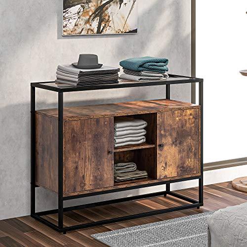 Aparador lateral de cocina con cristal templado para salón, cocina, comedor, dormitorio, diseño industrial vintage, marrón + negro (100 x 35 x 80 cm)