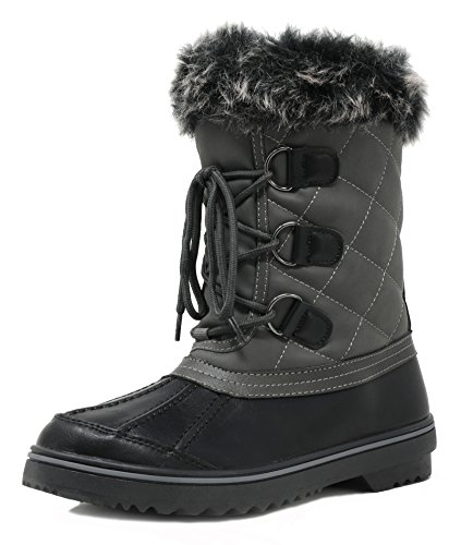 DREAM PAIRS Women's Swiss-Low Grey Mid Calf Winter Snow Boots Size 7 M US