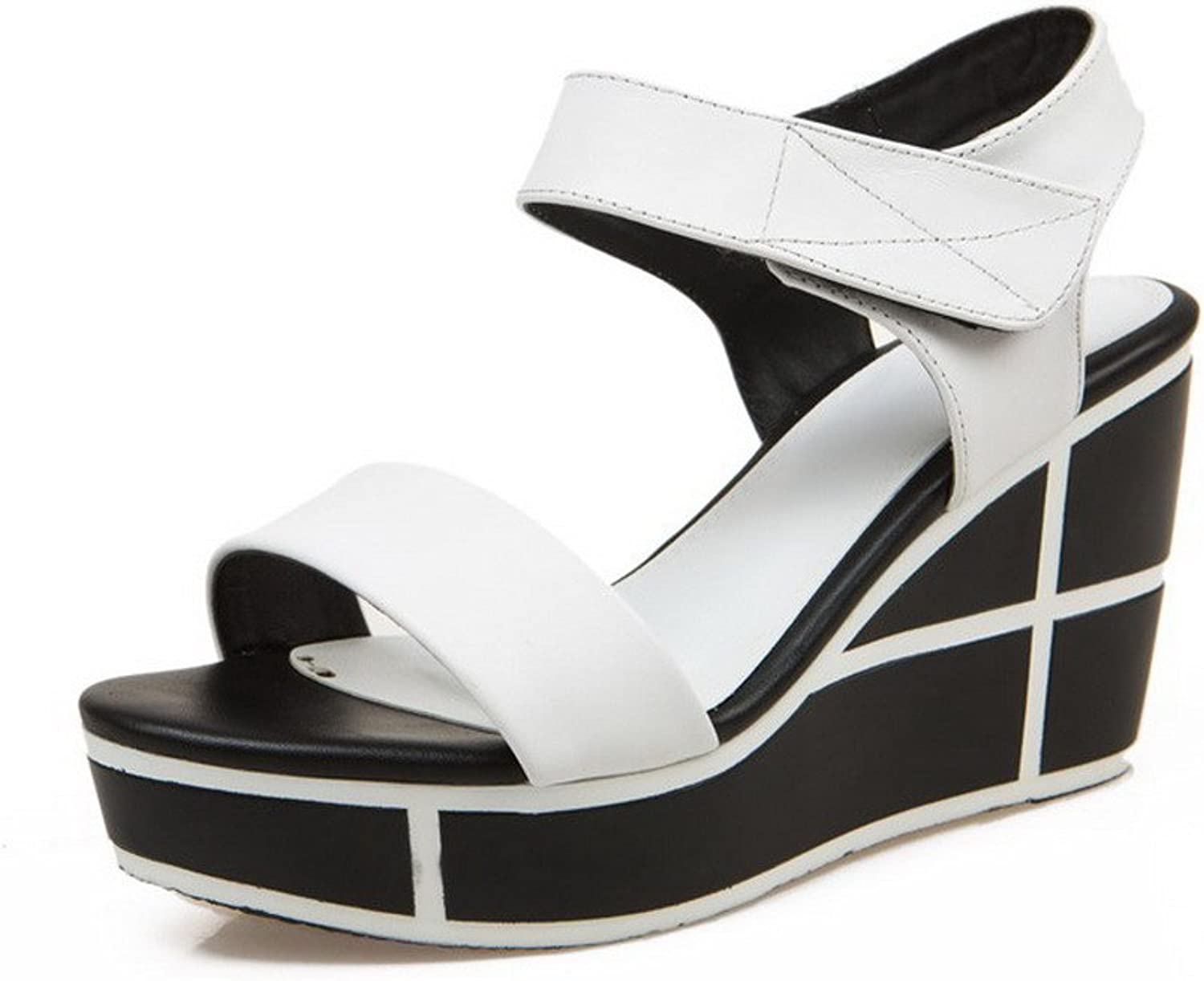 AmoonyFashion Women's Open Toe Hook-and-Loop Cow Leather Assorted color High-Heels Sandals
