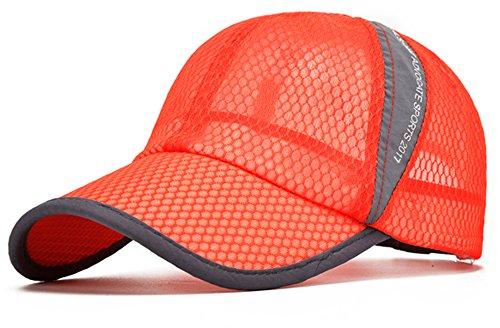 ELLEWIN Unisex Breathable Quick Dry Mesh Baseball Cap Sun Hat Tennis Cap (Orange-L/XL)